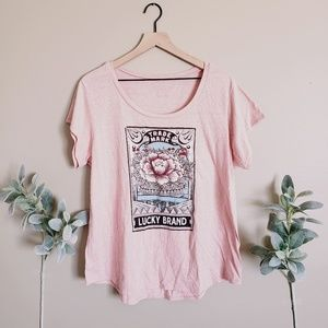 Lucky Brand Trademark Pink Floral Graphic Shirt
